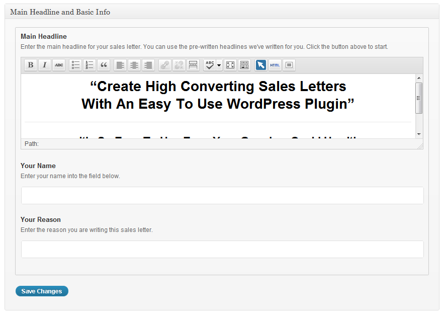 Wordpress Sales Letter Wp Sales Letter Plugin